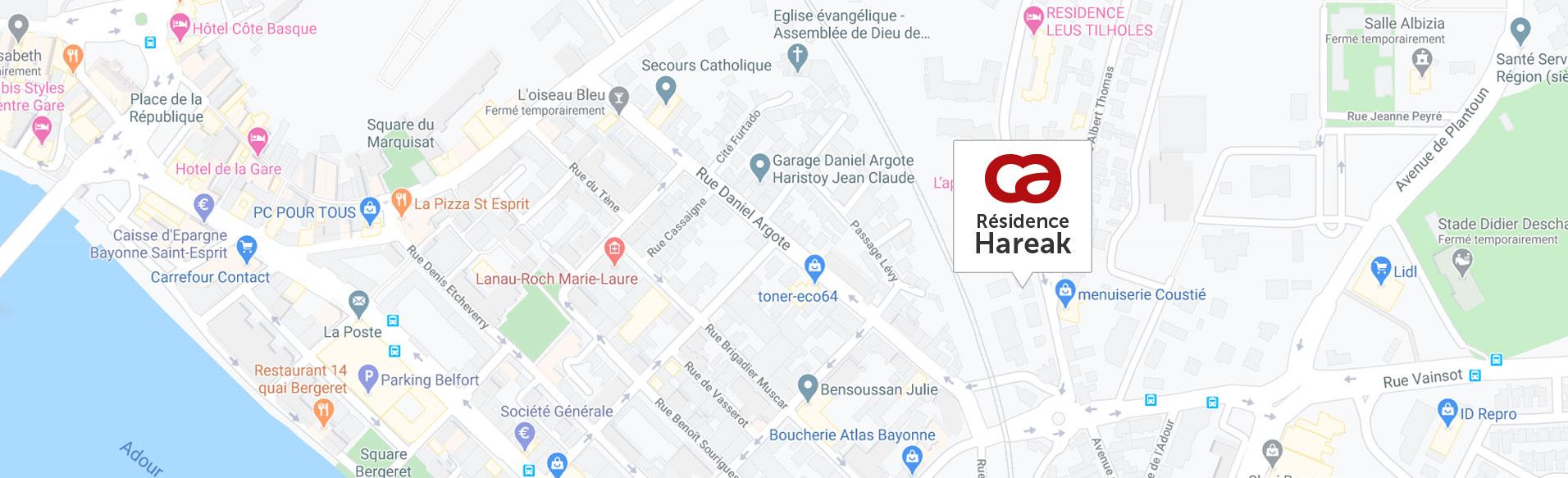 Carte de situation de la résidence hareak à Bayonne 2020